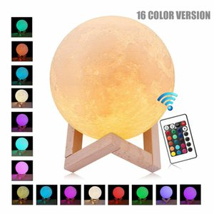 Halloween cadeau lampe lune 3D USB LED Light Night Moonlight Touch 16 couleurs changeantes avec télécommande