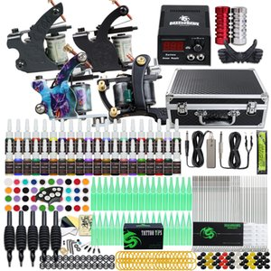 Complete Tattoo Kit 4 Machines 40 color Inks Power Supply Needle Grip Tip Set US Shipping D120GD-18