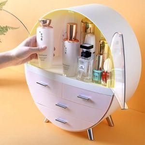 Waterproof Cosmetic Box rodada dupla-porta jóias Makeup Box Multifuncional Shelf Cosmetic Organizer Início Dust-proof