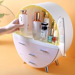 Caja impermeable joyería a prueba de polvo caja de doble puerta cosmética multifuncional maquillaje organizador cosmético hogar redondo estante nebxr