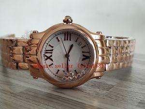 Caliente NR Happy Sport 33MM 274808 oro rosa reloj de señoras ETA2892 automáticas 28800vph perla diamante móviles Marcar Relojes de cuarzo para mujer