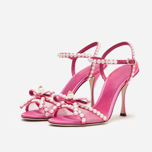 Pearl Crystal High heels Sandals Stilettos sweety girls shoes Summer Dress butterfly knot bowties Party wedding Shoes Women