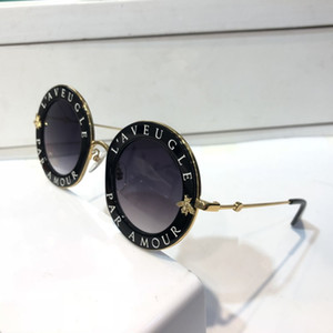 0113 óculos de sol para o frame de mulheres round Verão Estilo Black Gold com abelhas 0113S óculos Top Quality UV 400 Lens vindo com caso