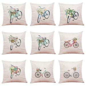 Чехол для подушки для велосипеда из цветочного велосипеда. Диван-наволочка. Декоративные наволочки без вкладышей (18 * 18 дюймов).