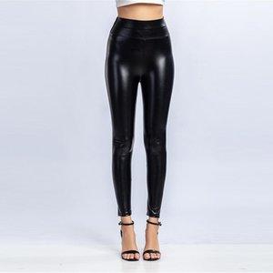 Panelled Womens Leggings Pants casuale delle femmine Pantaloni in pelle puro colore dei vestiti delle donne del progettista PU Moda Slim