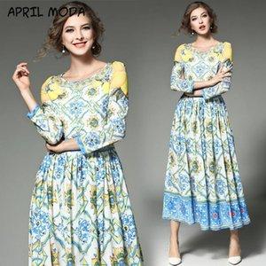 Mode casual col rond Catwalk Catwalk Imprimer Robe élégante Tempérament Brochage Big Swing Robes 2020 Printemps Nouveau produit