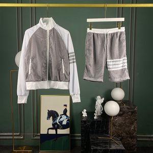 2020 Giacca Primavera Estate Europa tripla banda Zipper Patchwork Mesh modo delle donne degli uomini pirata mezzo pantaloni via dei pantaloni di bicchierini di tuta