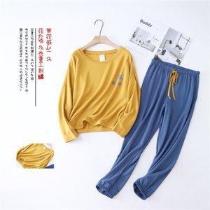 Temmuz'S SYJJF Kadınlar Pamuk Pijama Takımı 2 adet Yumuşak pijamalar Kadın Plus Size Basit Uzun Kollu Sonbahar Kış Casual Homewear Y200425