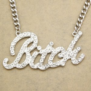 Celebrity Bling Bitch Word Austria Full Crystal Pave Chunky Chain Collier Statement Necklace for Women Men Jewelry Hip Hop