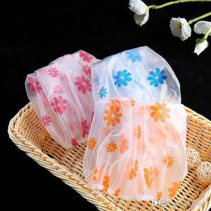 Resuable encaje elástico banda de pelo Baño Caps anti-humos Sombrero lindo de la flor de ducha impermeable de PVC Cap historieta de las mujeres de lavado cubierta pelo de la cara