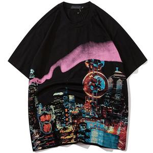 Camiseta de los hombres del estilo del salto de la pintura de acuarela Impreso Hip Tee holgada de algodón de manga corta amantes avanzadas verano Streetwear