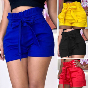Hirigin Summer Loose Women Casual Cotton Candy Color Short Belt Playa Pantalones cortos de cintura alta