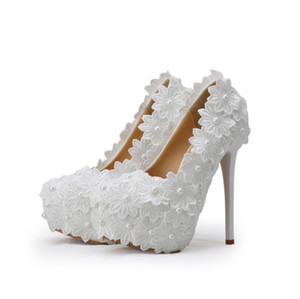 Hot Sale-Foreign comércio transfronteiriço de fornecimento de sapatos de casamento White Lace Bride Shoe Express vendidos através da Estação Internacional da Amazônia