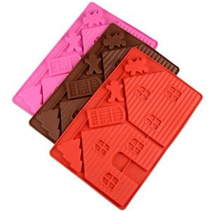 Criativo Natal Gingerbread House Baking Moldes Eco-friendly Silicone Bolo de Chocolate Mold Diy Bakeware Ferramentas de várias cores 7 59js E1
