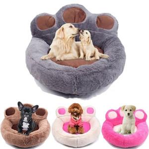 Inverno Quente Fleece Dog Bed Rodada Pequeno Médio Grande Cão Camas Extra Grande Pet Esteiras de Pelúcia Urso Macio Em Forma de Casa Do Gato Suprimentos