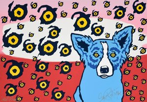 a126# George Rodrigue Blue Dog I See You You See Me Home Decor Handpainted &HD Print Oil Painting On Canvas Wall Art Canvas Pictures 200117