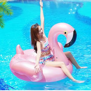 150см надувное розовое золото фламинго надувной плавающий дренаж игрушка плавательный кольцо