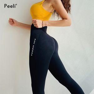 Peeli Tummy Control Yoga Pants Women Seamless Leggings Fitness Gym Tights Push Up Sports Leggings High Waist Workout Sportswear T200325