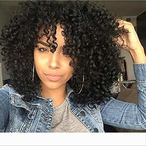 African Bob Kinky Curly Wig Human Afro Full Wigs For Black Women Virgin brazilian Hair lace front Wigs With Bangs 180% density 14inch