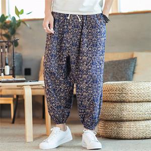KLV Erkekler Pantolon Erkek Casual Vintage Stil Pantolon Serbest Pamuk Keten Baskı Patchwork Fener Pant Etnik Stil