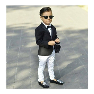 Boys Negros Suits Slim Peaked Lapel Um Botão Fit Boy's Tuxedo Kids Formal Dress Set Conjunto (Casaco + Calças + Curva)