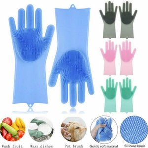 Magic Dishwashing Gloves for Washing Dishes Silicone Cleaning Gloves With Brushes Kitchen Household Rubber Sponge Gloves Car Wash Glove