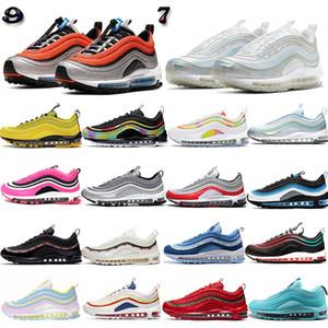97 Cuir 3M réfléchissant Chaussures de course États-Unis Coussin vert pomme jaune fluorescent Roland Violet Designer 97s Sport INVAINCUS Taille 36-46