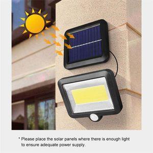 100 LED-Solarlicht Im Freien COB Solargarten-Licht Wasserdichtes PIR Bewegungs-Sensor-Wandleuchte Scheinwerfer Notfall