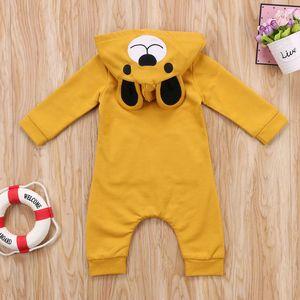 0-24M Lovely Bear Cartoon Newborn Toddler Baby Girls Boys Cotton Long Sleeve Zipper Hooded Romper 2 Style Outfit Fall Winter
