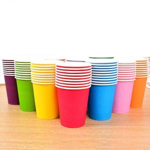 10pcs Pure Color Paper Tasse Jus Jusable Juice Jusable Coupe DIY Décoration Baby Douche Enfants Jeune anniversaire De mariage Pique-nique Vaisselle Vaisselle