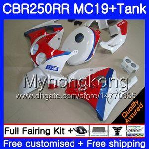 Moulage par injection pour HONDA CBR 250RR MC19 CBR250RR 1988 1989 Corps 261HM.47 CBR 250 RR 250R CBR250 RR 88 89 Carénage blanc usine rouge Kit + réservoir