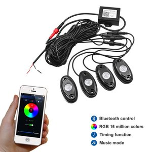 9W alta potência Mini Bluetooth 4 Pods Cree Led Rgb Rock Light Kit Para Sob veículo Car Suv Diy