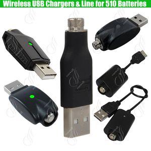 Caricabatterie USB senza fili 510 ego per 510 Preriscaldamento filo BUD touch Batteria a olio denso IC protezione eCigs Mod Batterie Caricabatterie adattatore