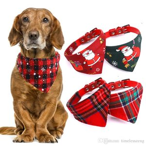 Adjustable Pet Scarf Collar Triangle Neckerchief 8 Designs Dog Bandana For Cats Dogs Necklaces Pets Christmas Decoration