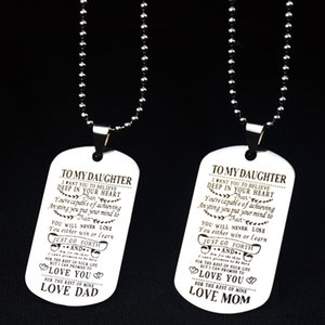 Silver Color Square Pendants Necklace To Our Son Daughter Letters Military Licensing Pendants Necklace Men Jewelry Gifts
