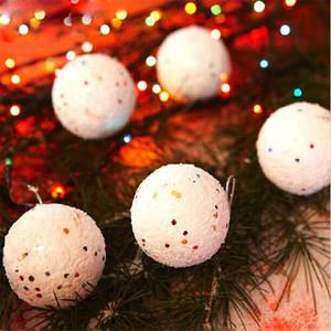 Fashion Christmas White Schneeball-Anhänger-runde Kugel-Weihnachtsverzierung Flitter Geschenk-Geschenk Weihnachtsbaum Craft Glitter Party Supplies