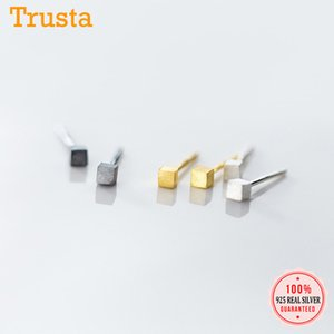 Trustdavis Genuine 100% 925 Sterling Silver doce Desenho Mini fio quadrado brincos para mulheres casamento jóias presente DS2112