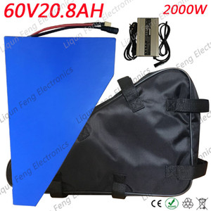Triangle style 60V 20AH ebike Lithium Battery, con 2000W BMS Chargrer, E-bike Electric Bicycle Scooter 60V Lithium Battery.