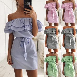 A spalle senza spalline a righe increspature vestito delle donne estate Sundresses Beach casuale T-shirt Mini vestiti da partito Robe Femme