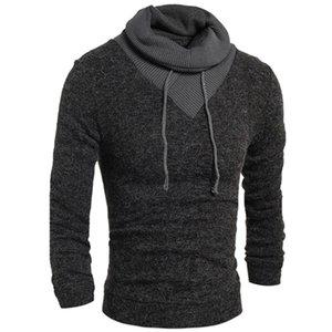 HaiFux Suéter Hombres 2018 Hombre Marca ocasionales adelgazan los suéteres de los hombres de color de Soild de cobertura de cuello alto suéter de los hombres de XXL
