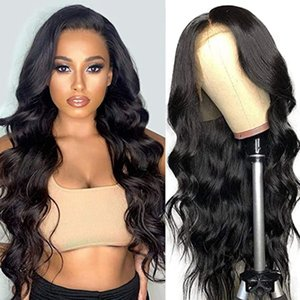 Long Body Wave Heat Resistant Synthetic Lace Front Wig With Baby Hair Glueless 180% Density Black Wig 24inch Long Cheap Wigs for Women