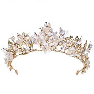 Butterfly Crown Flower Wedding Ball Headpiece Pearl Bridal Hair Accessories Hair Strap