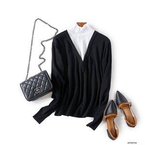 إمرأة مصمم الخريف مزاجه تباين الألوان أجوف طويل كم تمتد ضئيلة قميص قاعدة البرية sweater1UR0 QHFD