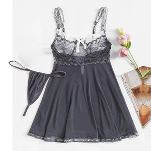 2019 Женщины Nightgowns Sexy Summer пижамы платья наборы стринг Ночное Спагетти ремень Backless Плюс Размер Femme SleepSkirt