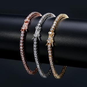 Cadeias de tênis europeus e americanos Hip-hop maré pulseira Zircon-microencased 3mm pulseira pulseira de tênis