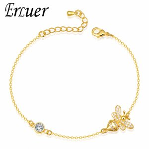 ERLUER bracelets de charme pour les femmes Rose Or Zircon Abeille Réglable Bijoux Fille cristal bracelet d'amitié bracelet fasion bijoux