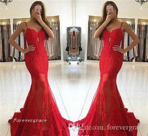 2019 Red Lace Spaghetti Straps Evening Dress Mermaid Backless Formal Wear Party Gown Custom Made Plus Size