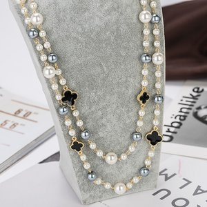 2020 High quality imitation pearl long necklaces for women elegant party jewelry double layer gold necklace