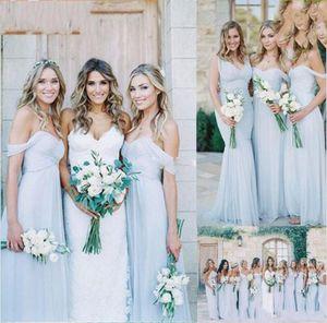2019 Yeni Muhteşem Draped Sky Blue Off-omuz Plaj Boho Uzun Gelinlik Modelleri Bohemian Düğün Konuk Nedime Elbisesi Ucuz