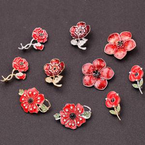 Красный горный хрусталь цветок серии броши Изысканный Кристалл Мак цветок Форма Эмаль Pin Элегантные украшения невесты невесты